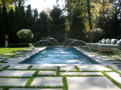 Magnificent Thermal Bluestone Pool Deck with Zodiac Deck Jets Water Feature for Rectangular Swimming Pools Designs from Pool Tiles, Pool Decks, Pool Coping Backyard Pool Designs, Swimming Pool Designs, Pool Landscaping, Piscina Rectangular, Rectangular Pool, Outdoor Pool, Indoor Outdoor, Outdoor Lounge, Pool Paint