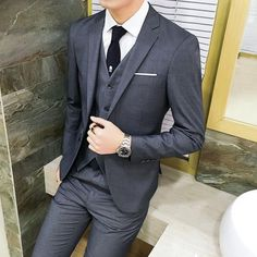 Cheap business suit, Buy Quality suits business directly from China three-piece suit Suppliers: ( jacket + vest + pants Spring Men's Slim Fit Business Three-piece Suits Male groom Party dress /Man Wedding Blazers Sets Formal Suits, Men Formal, Wedding Men, Wedding Suits, Wedding Groom, Wedding Bands, Wedding Stuff, Wedding Ideas, Dress Suits