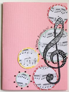 "Use sheet music circles layered on scallop circles, top with big musical note.  cute for ""just a note"" stamp"