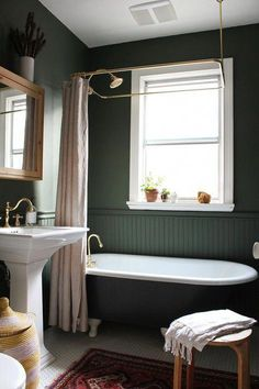 Backwoods paint color by Benjamin Moore. Modern Vintage Clawfoot Bathroom Makeover — The Marion House Book Clawfoot Tub Bathroom, Bathroom Red, Modern Bathroom, Bathroom Ideas, Bathroom Designs, Bathroom Marble, Minimalist Bathroom, Bathroom Faucets, Minimalist Kitchen