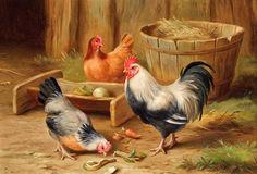 Altınotu: Siyah beyaz çiftlik tavukları resimleri yağlı boya...