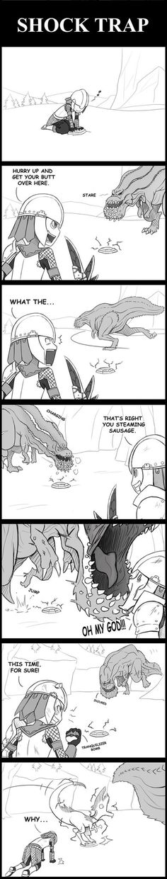 Monster Hunter: Shock Trap by SilentGPanda - I love the expression when the monsters jumps over, 100% true