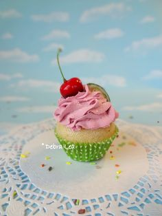 Gourmet Fake Cupcake Handmade Faux Pink Cherry Limeade Cupcake Realistic Green Kitchen Decor - Imagine Out Loud