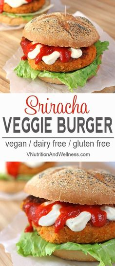 Sriracha Veggie Burgers | TheseSriracha Veggie Burgers are not your typical veggie burger. They kick the heat up a notch with the awesomeness of sriracha. No one will call these burgers ordinary!vegan, veggieburger, gluten-free recipe, vegan recipe, vegan burger via @VNutritionist