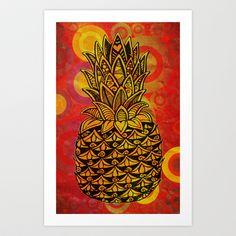 Pineapple Love Art Print by Alohalani - $24.96