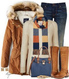 #outfits #winter / Jacket + Stripe Scarf