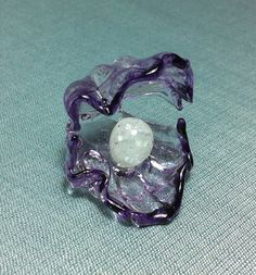 Hand Blown Glass Funny Oyster With Pearl Sea Animal Tiny Cute White Purple Figurine Statue Decoration Collectible Small Craft Hand Painted on Etsy, $7.00