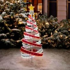 4 foot lighted outdoor red white tube light ribbon christmas tree holiday decor ebay spiral - Outdoor Christmas Decorations Led Spiral Tree