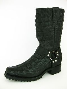 MEN'S BLACK CROCODILE ALLIGATOR FULL LEATHER BIKER BOOTS