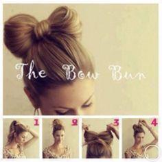 The bow bun hair style step by step
