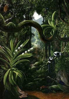 Discover recipes, home ideas, style inspiration and other ideas to try. Fantasy Landscape, Landscape Art, Landscape Paintings, Forest Drawing, Jungle Art, Henri Rousseau, Tropical Art, Nature Illustration, Aesthetic Wallpapers