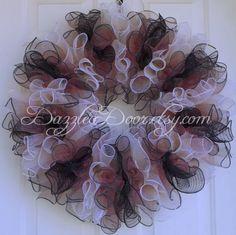 "Ruffled Wreath, Ombre Deco Mesh Wreath, ""Classical Elegance"" Deco Mesh Wreath by DazzleaDoor on Etsy"