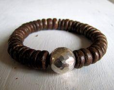 Sterling Silver and Wood Bracelet Men's Bracelet Woman's Bracelet  Stretch Bracelet Stackable Bracelet Boho Bracelet Boho Stack Coconut Wood