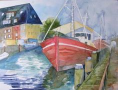 Summer day at the old stream (c) watercolor by Frank Koebsch, a scene from the old stream in Warnemünde, 56 x 42 cm, $440, You can find more information on this page http://frankkoebsch.wordpress.com/2009/07/22/sommertag-am-alten-strom/