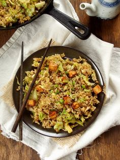 brussels sprout fried rice with spicy baked tofu | connoisseurs veg