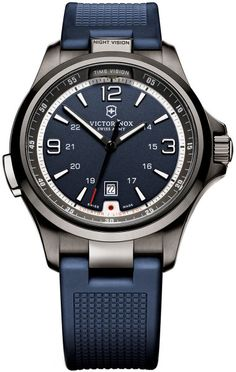 Victorinox Men's Night Vision Stainless Steel Watch with Rubber Strap