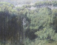 """""""Armando Morales (Nicaraguan, Foret Tropical no. Oil and beeswax on canvas, 162 x 201 cm. """" Armando Morales (January 1927 – November was an internationally renowned Nicaraguan painter. Morales is. Misty Day, Latin Artists, Landscaping Images, Tree Trunks, Landscape Paintings, Landscapes, Paper Flowers, Tropical, Canvas"""