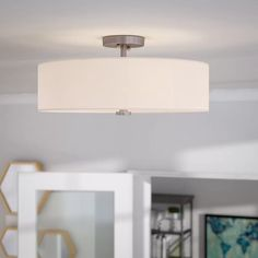 Streamlines and stylish, this fab four-light semi-flush mount illuminates your space with versatile contemporary flair. Made from metal in a brushed nickel finish, this dapper design showcases a white fabric Flush Mount Kitchen Lighting, Semi Flush Ceiling Lights, Flush Mount Ceiling, Modern Outdoor Kitchen, Best Kitchen Designs, Kitchen Ideas, Kitchen Nook, Interior Lighting, Lighting Ideas