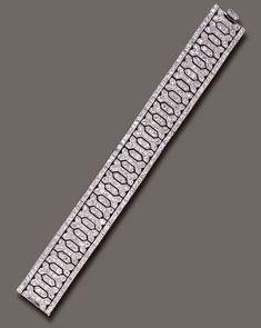 AN ELEGANT ART DECO DIAMOND BRACELET, BY CARTIER | Christie's Cartier Diamond Bracelet, Diamond Bangle, Diamond Jewelry, Art Deco Jewelry, Vintage Jewelry, Fine Jewelry, Jewelry Design, Jewellery, Diamante Art Deco