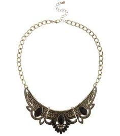 New Look - Black Stone Bib Necklace