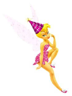 Happy Birthday Wishes png | Tinkerbell happy birthday Tink faery fairy photo pinktinkpartyhat.png