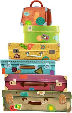 illustr.quenalbertini: Suitcases, clipart                                                                                                                                                      Más