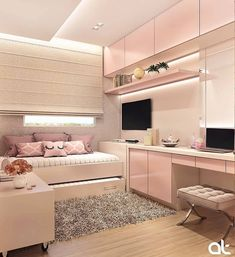 6 Creative Tips on How to Make a Small Bedroom Look Larger Bedroom Decor For Teen Girls, Girl Bedroom Designs, Small Room Bedroom, Room Decor Bedroom, Teen Bedroom, Home Room Design, Interior Design Living Room, Cute Room Decor, Aesthetic Room Decor