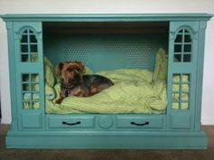 Recycled entertainment center dog bed Diy Dog Bed, Cool Dog Beds, Cool Pets, Homemade Dog Bed, Old Tv Consoles, Entertainment Center Furniture, Entertainment Centers, Dog Furniture, Furniture Projects