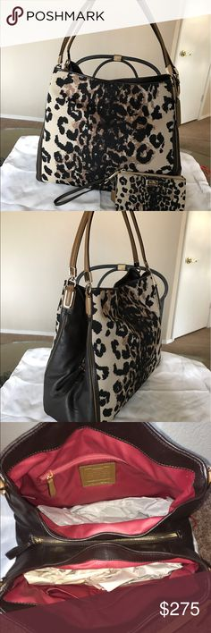 Coach phoebe ocelot with wristlet Like new condition! 100% authentic. No trades! Coach Bags Shoulder Bags
