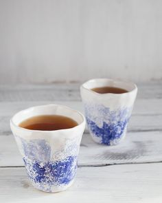 Set of two white blue ceramic handmade cups от KateVoronina