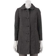 LC Lauren Conrad Dot Jacquard Jacket - Women's found on Polyvore featuring polyvore, fashion, clothing, outerwear, jackets, black dots, polka dot jacket, pattern jacket, pocket jacket and lined jacket