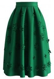Falling Flowers Airy Pleated Midi Skirt in Green