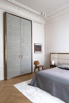 Upholstered, bronze trimmed closet doors