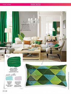 20 ways to do kelly green. Like the gray walls. Neutral furniture and kelly green color pop!