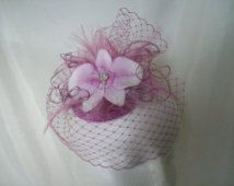 Small Vintage Style Lavender Lilac and White Blusher Veil Orchid Flower Wedding Mini Percher Fascinator - Ready Made