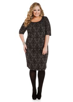 3dae0807ff9 Flocked Baroque Dress - Ashley Stewart Plus Size Clubwear