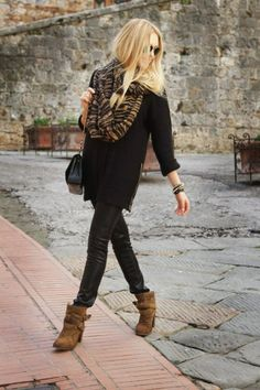 Black and Brown! brown booties and black leather leggings, black oversized sweater and a cute scarf! #boots