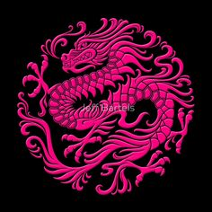 Traditional Pink Chinese Dragon Circle