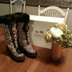 Coach fur trimmed boots Like new tan signature Coach rabbit fur trim boots.  Only worn twice. Coach Shoes Winter & Rain Boots