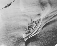 B-25 aircraft of 345th Bombardment Group, US 500th Bombardment Squadron attacking Japanese Sub Chaser CH-39 off Three Island Harbor, New Hanover, New Ireland, 16 Feb 1944