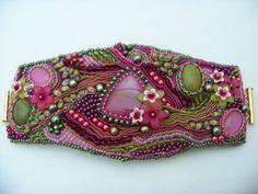 Apple Blossom silk shibori ribbon cuff by deborahaweaver on Etsy, $155.00