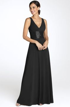 JS Boutique Beaded Waist Jersey Gown: Beads sparkle at the shoulders and wide inset waist on a fluid stretch jersey dress, fashioned with a ruched V-neck bodice and floor-length A-line skirt. Mob Dresses, Ball Dresses, Formal Dresses, Dresses 2014, Bride Dresses, Formal Wear, Wedding Dresses, Party Dresses, Girls Dresses