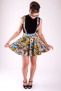 Hand made in the USA by Linda Heredia Suspenders Marvel Comic Book novelty print Circle Skirt. Comes in sizes: Size 4 - XS (Waist Hips 35 - Size 6 - S (Waist 28 - 30 Hips 37 - Size 8 - M (Waist 31 - 33 Hips 39 - Size 10 - L (Waist 34 - 35 Hips 41 - Size Nerd Fashion, Fashion Over 50, Look Fashion, Womens Fashion, Fashion Tips, Cheap Fashion, Fashion Boots, Fashion Sandals, Lolita Fashion
