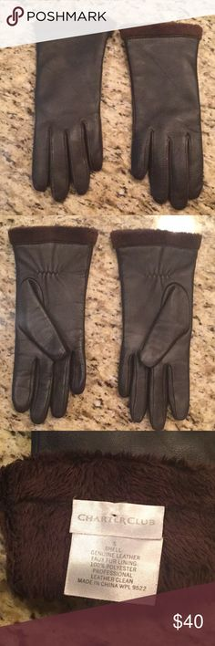 """CHARTER CLUB LEATHER GLOVES SZ. Small fur trimmed and fur lined chocolate brown leather gloves. Bought and realized after wearing one time they were to small and I had lost the receipt. No picks, rubs or tears. These are beautiful gloves 🔹finger width. 1"""" 🔹finger length middle 3 1/2"""" 🔹finger length forefinger 3"""" 🔹finger length pinky 2 1/2"""" 🔹wrist width 4"""" Charter Club Accessories Gloves & Mittens"""