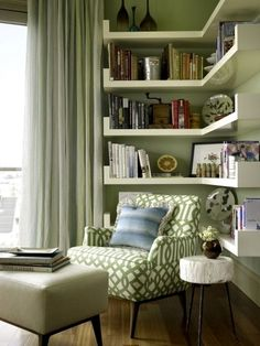 Cozy and comfy reading nook space ideas are never enough for avid readers. It is every big reader dream to own a little space to crawl in with a good book to relax and read freely whenever they feel like having a break from everyday life. We have found ideas for cozy and comfy reading nook space ideas for people of all ages, for your toddlers, teen or yourself to get reading in a special environment you have created especially for that purpose. #homedesign #homedecor #interiordecor Living Room Grey, Living Room Decor, Small Home Libraries, Sofa, Couch, Corner Shelves, Room Shelves, Cool House Designs, Reading Nook