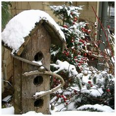 Birdhouse in the Winter - Schoolhouse Country Gardens