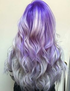 Purple into silver ombre hair                                                                                                                                                     More