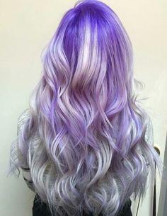 Purple into silver ombre hair                                                                                                                                                     More