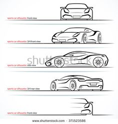 Modern super car, sports car vector silhouettes, outlines, contours isolated on white background. Front, rear and side views. Car Logo Design, Car Design Sketch, Car Sketch, Side View Drawing, Car Side View, Car Silhouette, Car Vector, Industrial Design Sketch, Sketches Tutorial