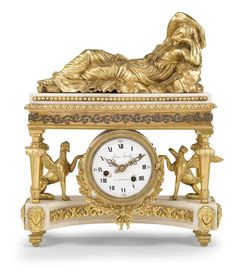 An Italian gilt and silvered bronze and white marble mantel clock <br>early 19th century | lot | Sotheby's